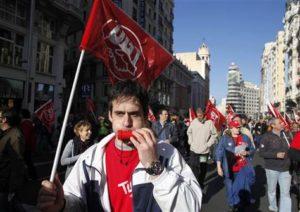 29.03.12 Madryt. Młodzi indignados i związkowcy zjednoczyli się podczas strajku generalnego.