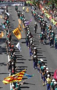 11.07.12 Madryt. Górnicy maszerują na czele wielkiej demonstracji przeciw cięciom.