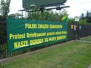 Protest działkowców - transparent