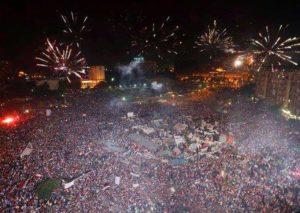 03.07.2013 Plac Tahrir. Noc obalenia Mursiego.