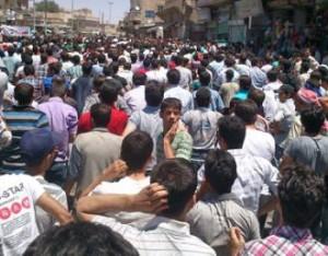 Protest w mieście Manbidż.