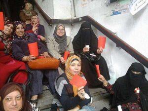03.14 Port Said, Egipt. Strajkujące pracownice poczty.