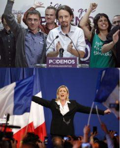 Dwie twarze Eurowyborów: Na górze: Pablo Iglesias  z lewicowego Podemos w Hiszpanii Na dole: Marine Le Pen z faszystowskiego  Frontu Narodowego we Francji