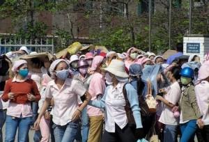 Strajkujące pracownice w Wietnamie.