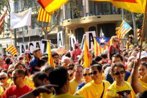 11.09.14 Barcelona. Zwolennicy niepodległości Katalonii.