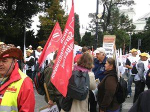 RSS podczas demonstracji górników przed  Sejmem w czasie expose Ewy Kopacz.