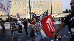 25.06.15 Ateny. Zwolenniczka SEK podczas demonstracji.