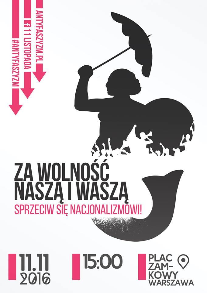 Plakat - demonstracja antyfaszystowska 11 listopada 2016